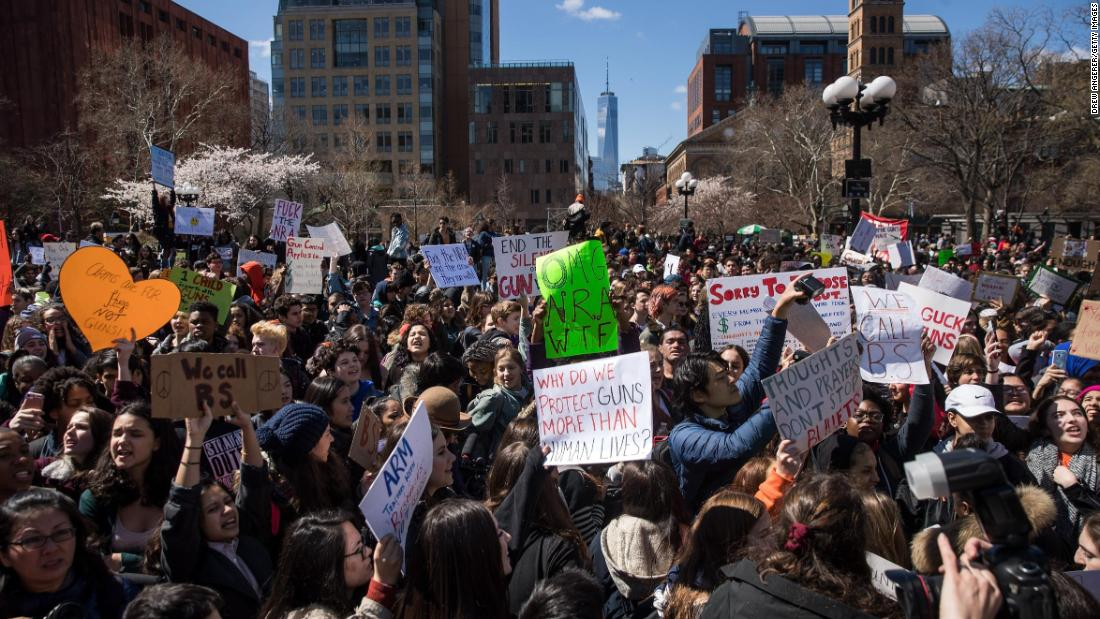 Student activists rally against gun violence at Washington Square Park in New York.