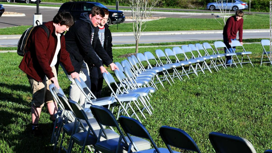 Students at Clayton-Bradley STEM Academy in Maryville, Tennessee, set up chairs representing every US school shooting since 2000.