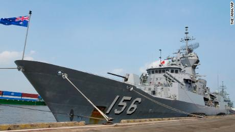 "In this Thursday, April 19, 2018, photo, Royal Australian Navy frigate HMAS Toowoomba is docked at Saigon port in Ho Chi Minh City, Vietnam. It was one of the three Australian Navy ships to make four-day port call in Vietnam. Australia's Prime Minister Malcolm Turnbull said the Australian navy has a ""perfect right"" to traverse the South China Sea after a media report Friday that the Chinese navy had challenged three Australian warships in the hotly contested waterway. (The Anh/Vietnam News Agency via AP)"