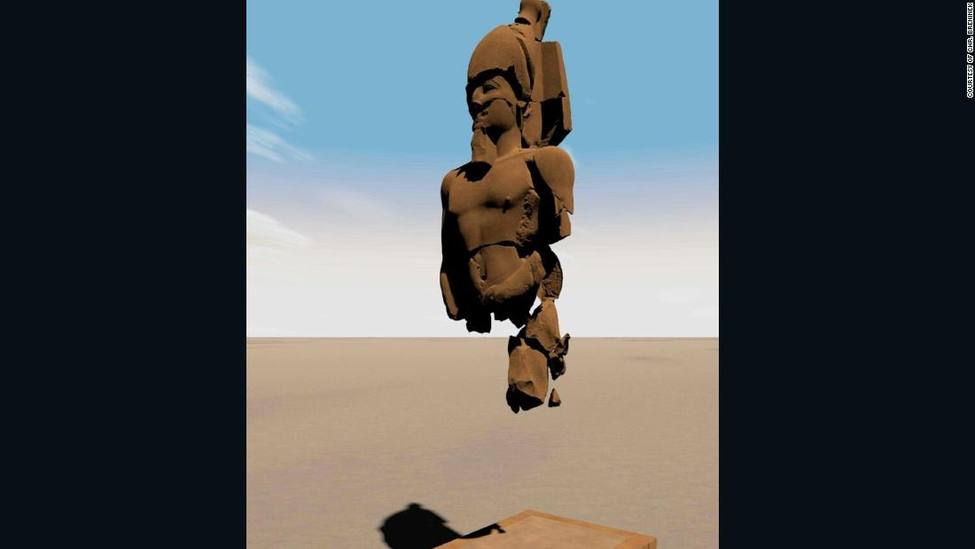 An archaeological team at the ancient city of Heliopolis, in modern-day Cairo, pieced together more than 6,000 fragments of a statue of King Psamtik I to calculate its original size and shape and create a 3D visualization.