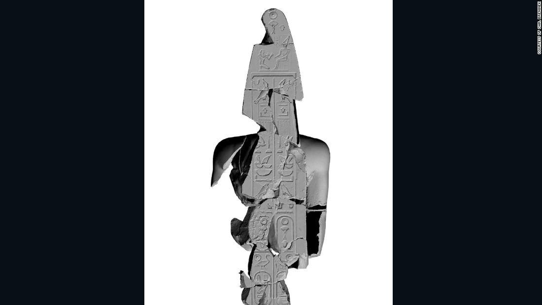 This visualization of the back pillar of the quartzite statue shows an inscription giving the full title of King Psamtik. Christopher Breninek worked on the visualizations for the Heliopolis Project.