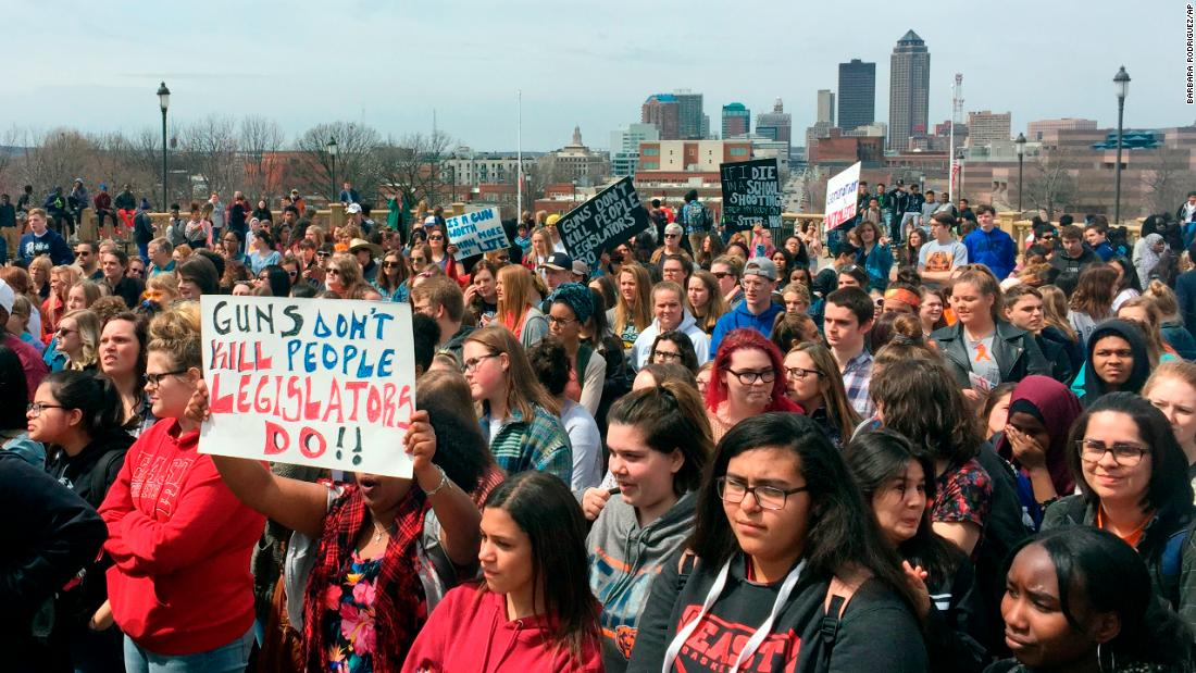 Students gather at the Iowa State Capitol in Des Moines.