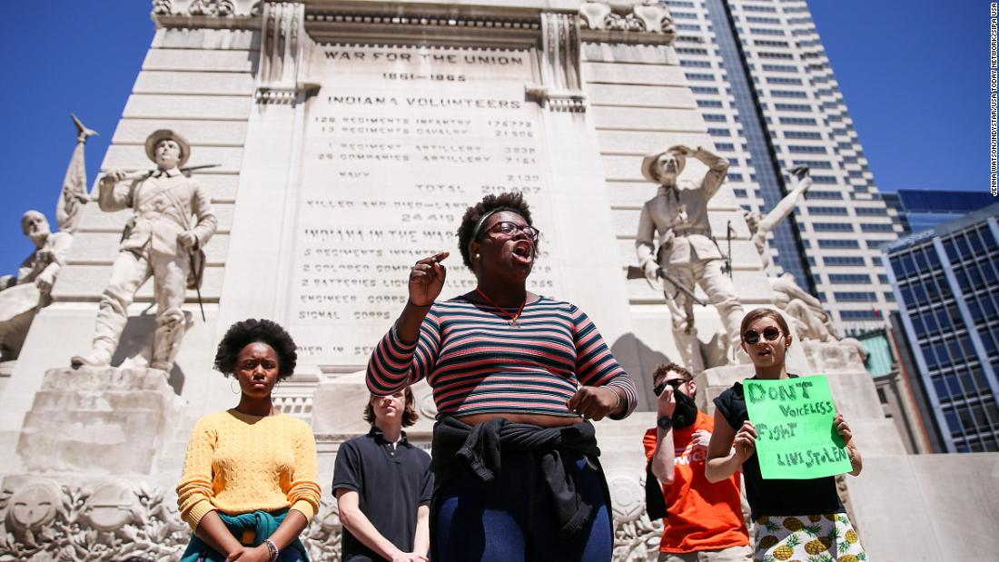 Eugena King, senior class president at Herron High School, speaks out to fellow students at the Soldiers and Sailors Monument in Indianapolis.