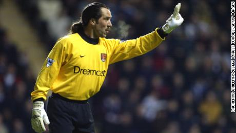 2 Mar 2002:  David Seaman of Arsenal in action during the FA Barclaycard Premiership match between Newcastle United and Arsenal played at St James Park, in Newcastle, England. Arsenal won the match 2-0. DIGITAL IMAGE. \ Mandatory Credit: Laurence Griffiths/Getty Images
