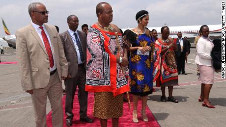 King of Swaziland Mswati III arrives to Bole International Airport ahead of the 29th African Union summit in Addis Ababa, Ethiopia on July 2, 2017.