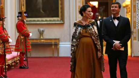Ardern arrives to attend The Queen's Dinner at Buckingham Palace on April 19.