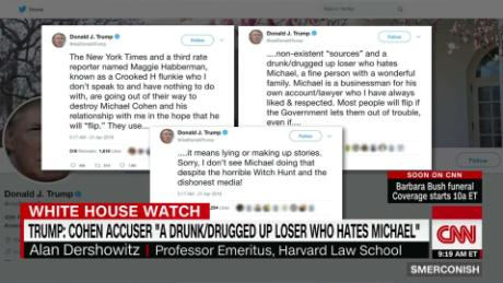 Trump tweets defense of Cohen, attacks others