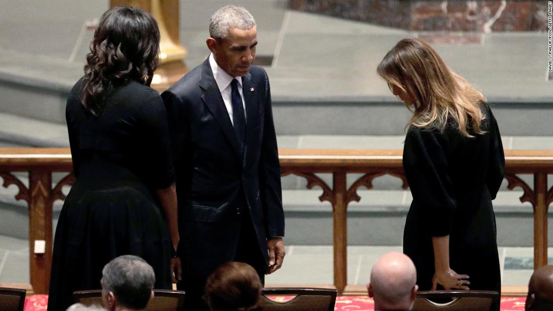 Former President Barack Obama and former first lady Michelle Obama greet first lady Melania Trump at St. Martin's Episcopal Church.