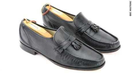 "These black leather Florsheim loafers are the shoes that Michael Jackson wore the first time he performed his famous moonwalk on stage, during the rehearsal of ""Billie Jean†for the ""Motown 25"" TV special in 1983. They will be put up for auction May 26 by GWS Auctions."