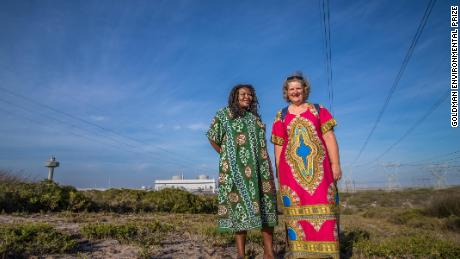 Makoma Lekalakala and Liz McDaid near the Koeberg nuclear power station.