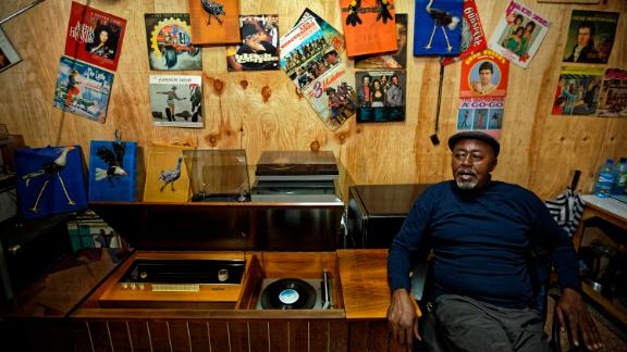 """James """"Jimmy"""" Rugami, a record-collecting legend who runs Nairobi's top vinyl store."""