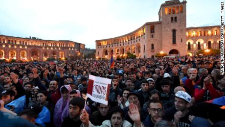 Thousands of protesters gathered in Yerevan, on  April 20, 2018.