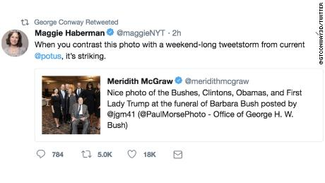 George Conway's retweet of New York Times reporter Maggie Haberman on Sunday, April 22, 2018.