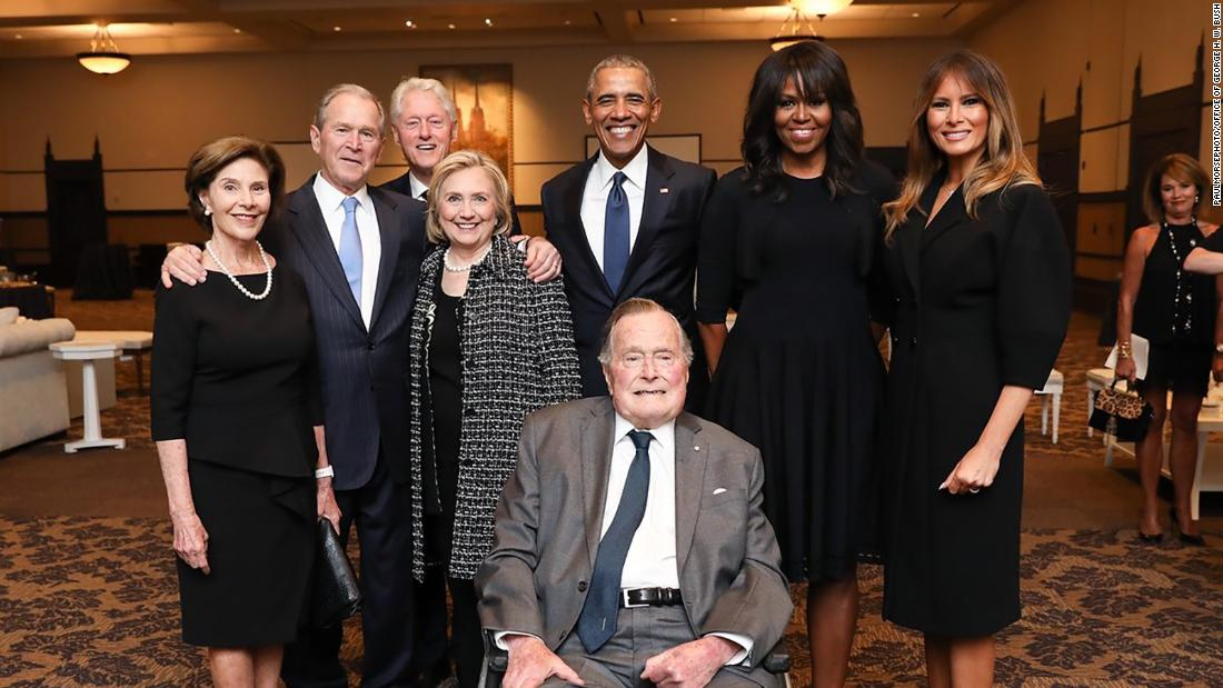 Former presidents and first ladies, including Bill and Hillary Clinton and Barack and Michelle Obama, as well as current first lady Melania Trump, join George H.W. Bush, George W. Bush and Laura Bush at the funeral ceremony for the late first lady Barbara Bush.
