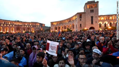 Protests in Yerevan April 20, 2018.