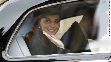 WINDSOR, ENGLAND - APRIL 1:  Catherine, Duchess of Cambridge waves from her car as she leaves after the Easter Mattins Service at St. George's Chapel at Windsor Castle on April 1, 2018 in Windsor, England.  (Photo by Tolga Akmen - WPA Pool/Getty Images)