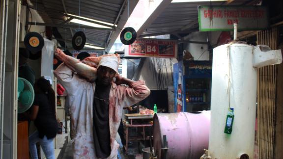 Rugami's vinyl store is nestled amongst the meat stalls in Kenyatta Market.