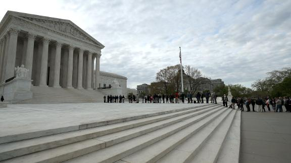 People wait in line to enter the U.S. Supreme Court on April 23, 2018 in Washington, DC.