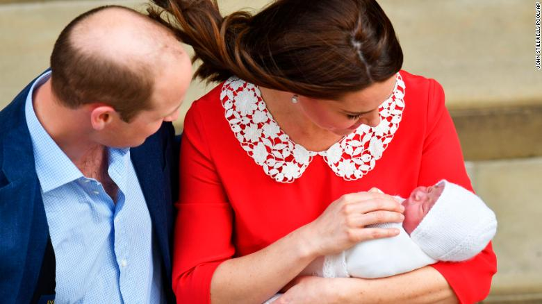 Britain's Prince William and Kate, Duchess of Cambridge with their newborn baby son.