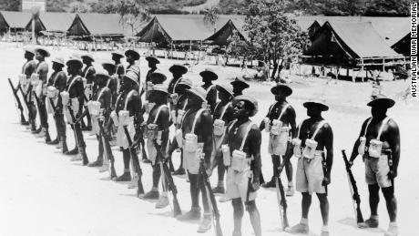 A squad of the Torres Strait Light Infantry Battalion training in their company lines in 1945.