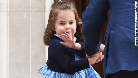 Princess Charlotte visits her newborn brother.