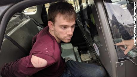 """Travis Reinking apprehended moments ago in a wooded area near Old Hickory Blvd & Hobson Pk,"" Metro Nashville police department"