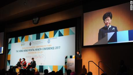 Hong Kong Chief Executive Carrie Lam speaking at the first Hong Kong Mental Health Conference last year.