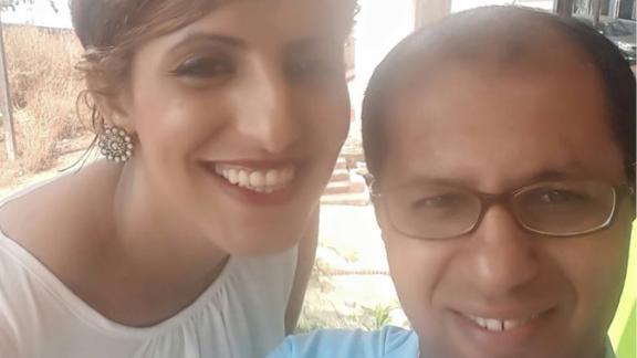 Rabyaa Althaibani left, with her husband.