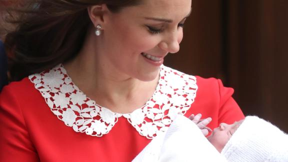 Catherine, Duchess of Cambridge, departs the Lindo Wing with her newborn son, Louis, just hours after his birth on April 23, 2018.