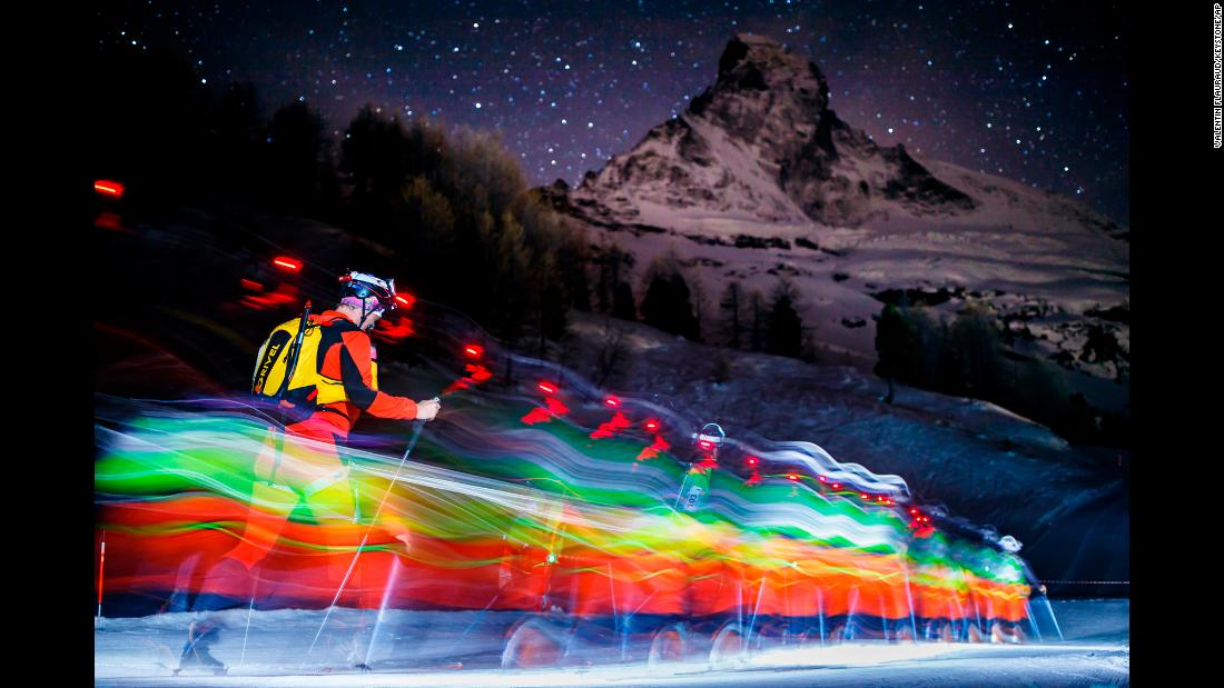 In this photo, taken with a slow shutter speed, skiers race in front of the Matterhorn mountain in Switzerland on Tuesday, April 17. They were competing in the Glacier Patrol race, which spanned 53 kilometers (32.9 miles) along the Swiss-Italian border.