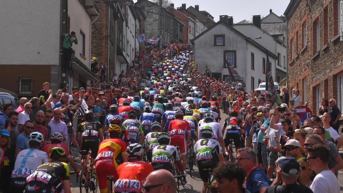 The peloton rides through Liege, Belgium, during a road race on Sunday, April 22.