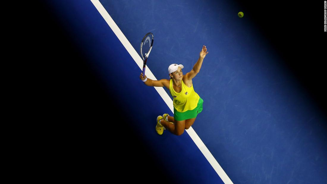 Australia's Ashleigh Barty serves the ball during a match against the Netherlands' Quirine Lemoine on Saturday, April 21. Barty won the match and helped Australia clinch a spot in next year's Fed Cup competition.