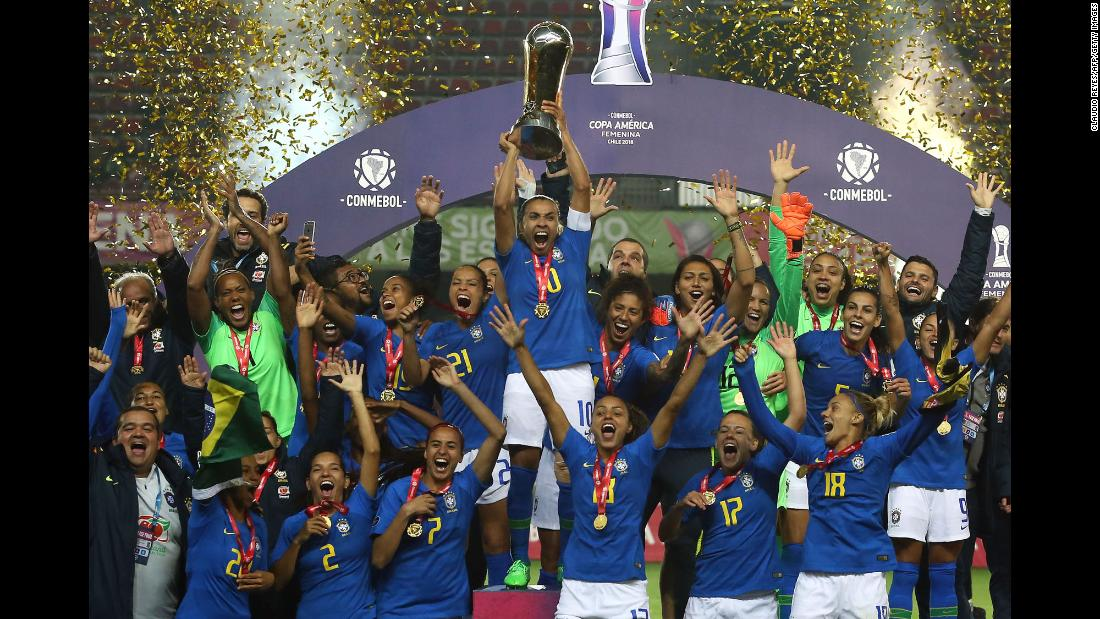 Brazilian soccer players celebrate after they defeated Colombia to win the Copa America Femenina on Sunday, April 22. Brazil has dominated the South American tournament since it began in 1991. It has finished second only one time (in 2006).