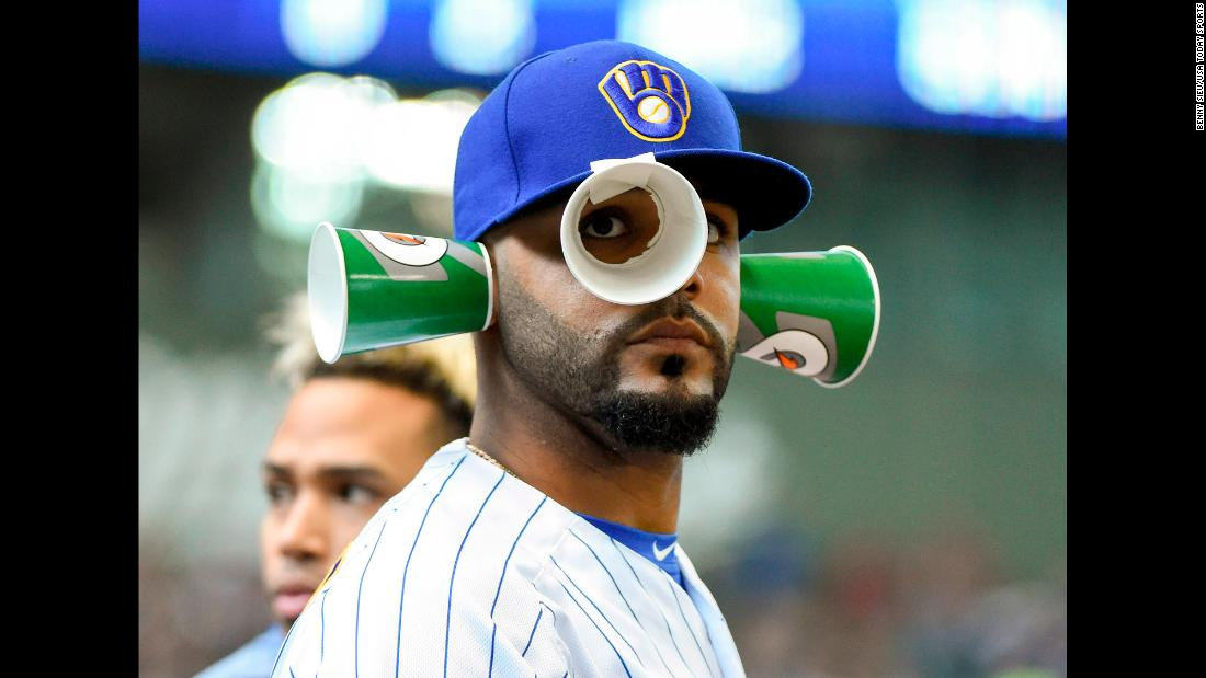Milwaukee second baseman Jonathan Villar has some fun in the dugout during a game against Miami on Sunday, April 22.