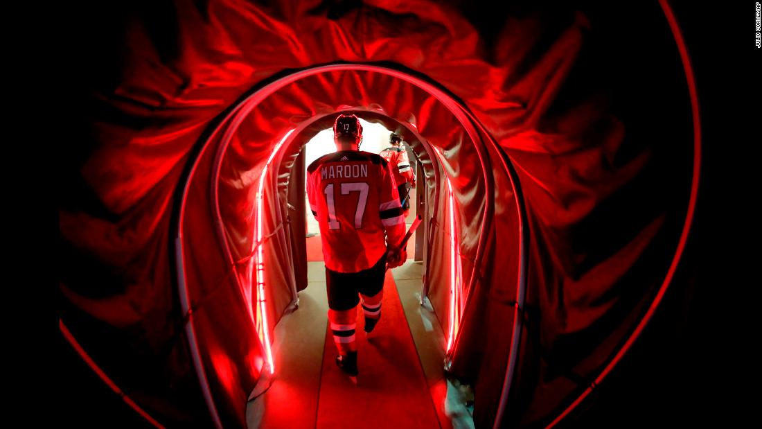 New Jersey forward Patrick Maroon leaves the ice after the first period of an NHL playoff game on Wednesday, April 18. The Devils lost their first-round playoff series to Tampa Bay, the top seed in the Eastern Conference.