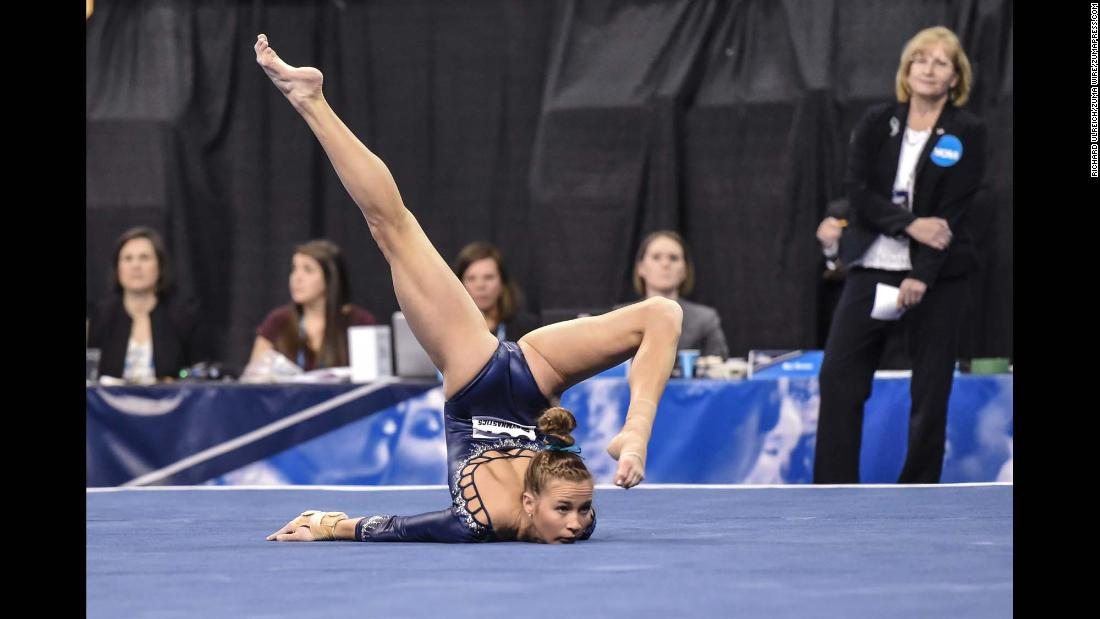 UCLA's Madison Kocian performs her floor exercise during the NCAA semifinals on Friday, April 20. Kocian and the Bruins went on to win the national title. Kocian was also a member of the US Olympic team that won gold in 2016.
