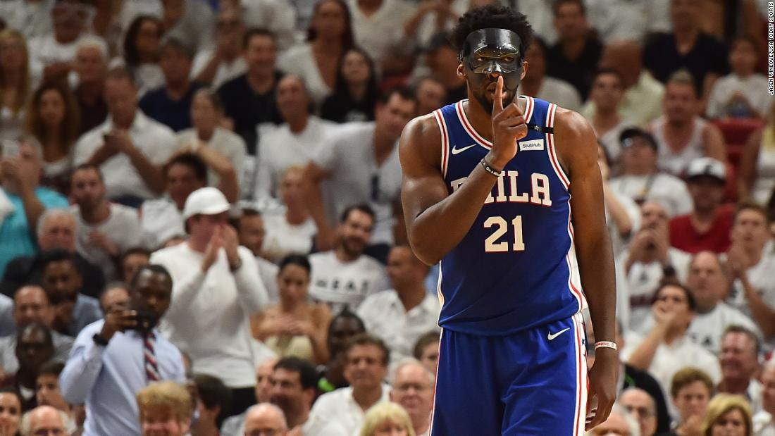 "Philadelphia center Joel Embiid shushes the crowd during an NBA playoff game in Miami on Thursday, April 19. Embiid, playing in his first game since suffering a broken orbital bone, <a href=""https://bleacherreport.com/articles/2771518-joel-embiid-drops-23-in-return-from-injury-as-76ers-take-2-1-lead-over-heat"" target=""_blank"">had a team-high 23 points</a> as the 76ers won 128-108 and took a 2-1 lead in the first-round series."