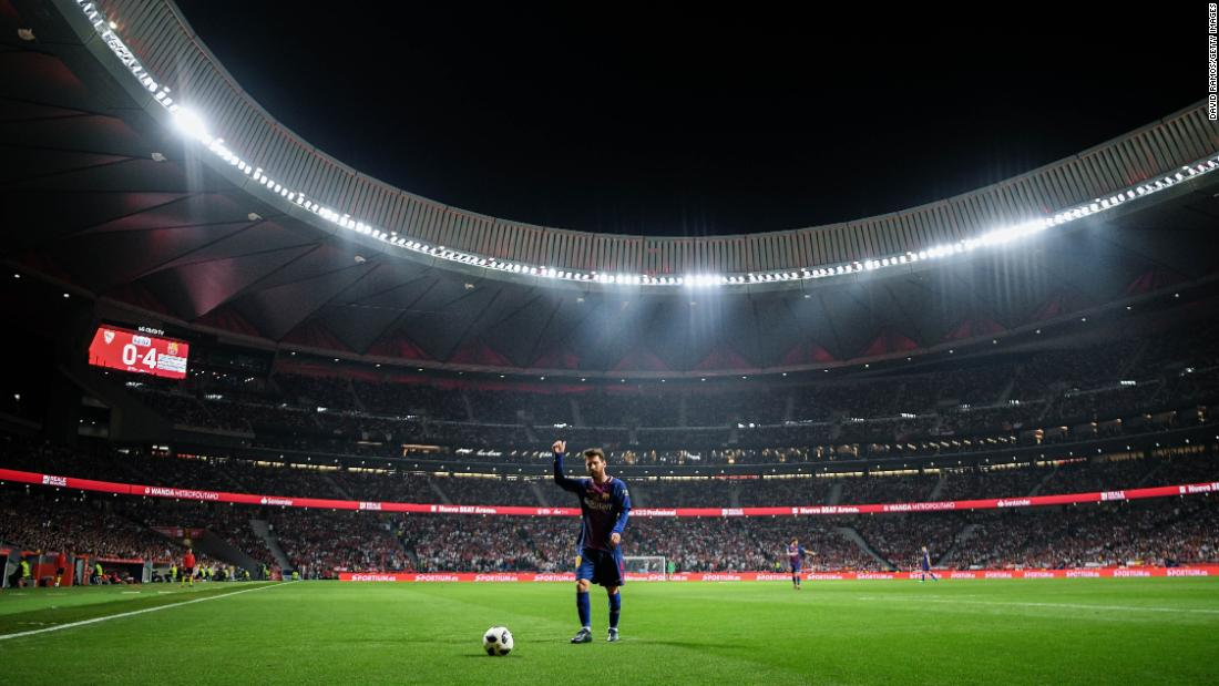 "Barcelona star Lionel Messi acknowledges the crowd during his club's dominating victory in <a href=""http://bleacherreport.com/articles/2771794-lionel-messi-luis-suarez-lead-barcelona-to-copa-del-rey-win-vs-sevilla"" target=""_blank"">the Copa del Rey final</a> on Saturday, April 21. Messi had a goal and two assists as Barca defeated Sevilla 5-0. <a href=""http://www.cnn.com/2018/04/16/sport/gallery/what-a-shot-sports-0417/index.html"" target=""_blank"">See 28 amazing sports photos from last week</a>"