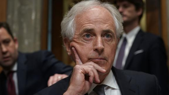 U.S. Sen. Bob Corker (R-TN) (C), chairman of the Senate Foreign Relations Committee, pauses during a committee meeting April 23, 2018 on Capitol Hill in Washington, DC. The committee has approved to the nomination of CIA Director Mike Pompeo to be the next Secretary of State. (Alex Wong/Getty Images)