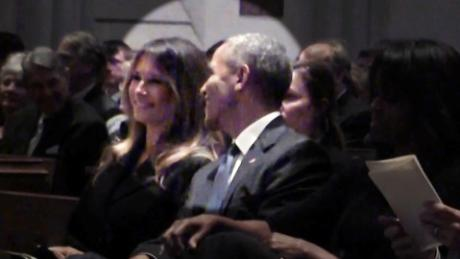 melania trump barack obama barbara bush funeral