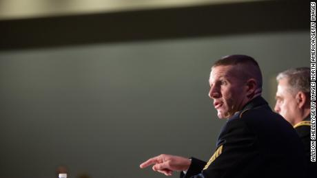 WASHINGTON, DC - OCTOBER 5, 2016:  Army Sgt. Major Daniel Dailey speaks on a panel during the Association of U.S. Army Annual Meeting on October 5, 2016, in Washington, D.C. Major Dailey was part of a Military Family Forum of senior army leaders gathered for the annual meeting and exposition, the largest military professional development forum in North America. (Photo by Allison Shelley/Getty Images)
