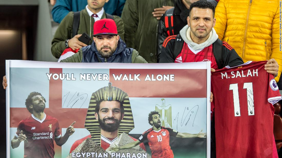 Egyptian fans with a banner of Salah during the friendly game agaisnt Portugal in March.