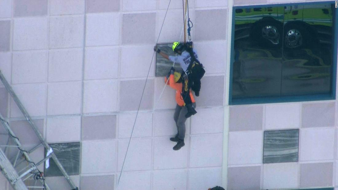 Construction workers rescued safely from collapsed scaffolding near Miami