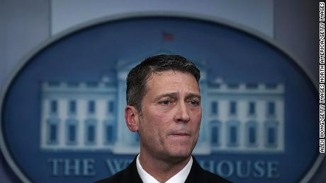 Ronny Jackson pauses during the daily White House press briefing at the White House on January 16, 2018.