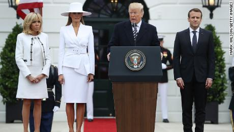 WASHINGTON, DC - APRIL 24:  President Donald Trump speaks as Brigitte Macron,  first lady Melania Trump, French President Emmanuel Macron attend a state arrival ceremony hosted by U.S. President Donald Trump welcoming French President Emmanuel Macron to the White House  April 24, 2018 in Washington, DC. Macron and Trump are scheduled to meet throughout the day to discuss a range of bilateral issues as Trump holds his first official state visit with the French president.  (Photo by Mark Wilson/Getty Images)