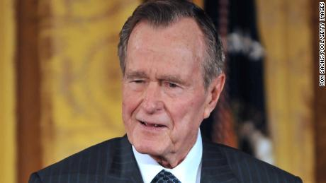 Former President George H. W. Bush speaks at a White House reception honoring of the Points of Light Institute in 2009.