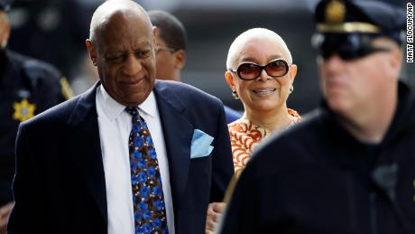 Bill Cosby, left, arrives with his wife, Camille, for his sexual assault trial, Tuesday, April 24, 2018, at the Montgomery County Courthouse in Norristown. (AP Photo/Matt Slocum)