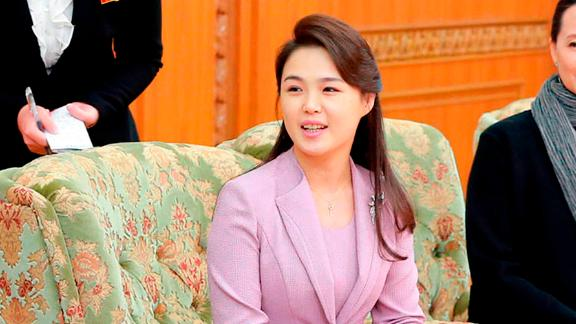 Ri Sol Ju, the wife of North Korean leader Kim Jong Un, seen in an April 14, 2018 photo published by state media. Ri has taken a far more prominent role as North Korea