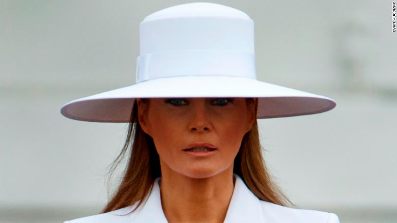 First lady Melania Trump listens during a State Arrival Ceremony on the South Lawn of the White House, Tuesday, April 24, 2018, in Washington. (AP Photo/Evan Vucci)