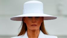 First lady Melania Trump listens during a State Arrival Ceremony on the South Lawn of the White House, Tuesday, April 24, 2018, in Washington. [AP Photo/Evan Vucci)